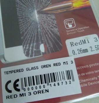 TEMPERED GLASS RED MI 3