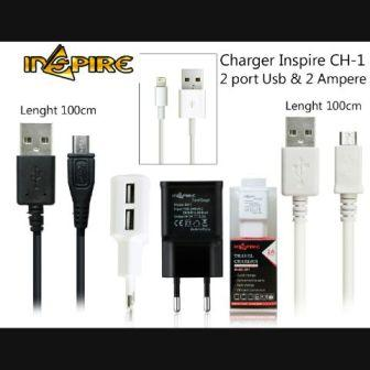 CHARGER INSPIRE CH1 COLOKAN MICRO USB2 PORT USB 2A