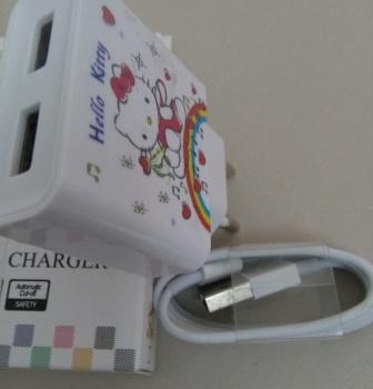CHARGER IPHONE 5G 2A MOTIF DISNEY KITTY 2USB