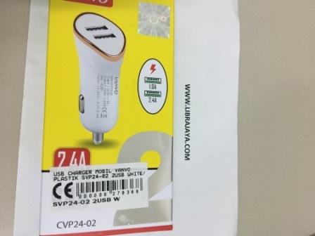 Usb Charger Mobil Vanvo Plastik Svp24-02 2Usb