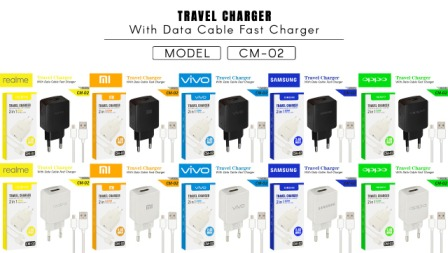 CHARGER CM-02 REALME MICRO BLACK-1USB-FAST
