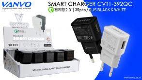 BATOK CHARGER CVP1-392QC VANVO 1USB BLACK-WHITE 1DUS ISI 30 PCS