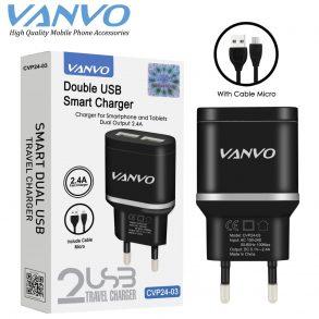 CHARGER CVP24-03 MICRO BLACK VANVO 2USB