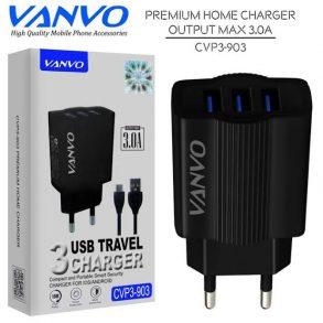 CHARGER CVP3-903 MICRO BLACK VANVO 3USB