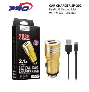 CHARGER MOBIL PRO SP-202 BLACK METAL-2USB-2.1A-KABEL MICRO