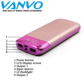 POWER BANK 10000 MAH VANVO SLIM VCS-13 LCD GOLD