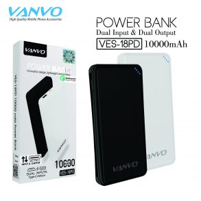 POWER BANK 10000 MAH VANVO VES-18PD LED BLACK