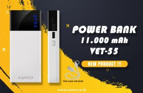 POWER BANK 11000 MAH VANVO VET-55 LED BLACK