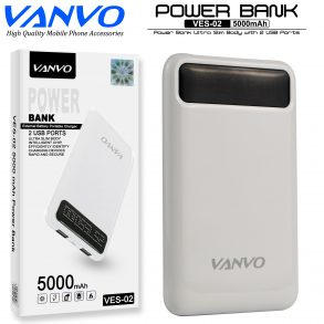 POWER BANK 5000 MAH VANVO SLIM VES-02 LED WHITE