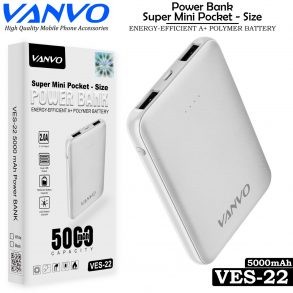 POWER BANK 5000 MAH VANVO VES-22 LED BLACK