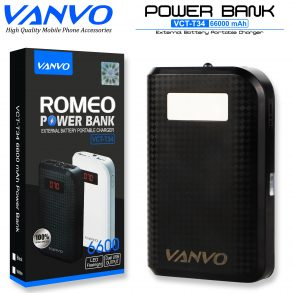 POWER BANK 6600 MAH VANVO VCT-T34 LCD BLACK