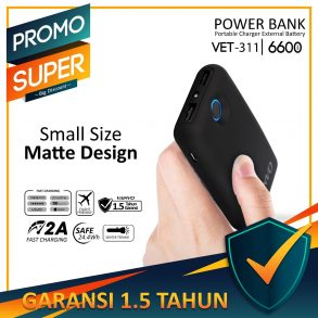 POWER BANK 6600 MAH VANVO VET-311 LED BLACK